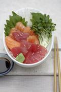 Close up of sashimi and sprouts Stock Photos
