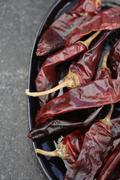 Close up of dried red chilies Stock Photos