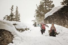 kids playing in snow - stock photo