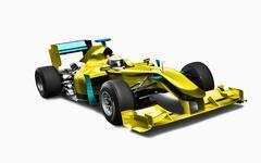Keltainen kilpa-auto kuljettajineen Piirros