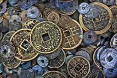 close up of vietnamese coins - stock photo