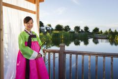 Korean woman in traditional clothing Stock Photos