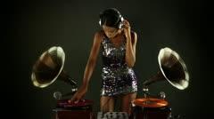 Super stylish female dj retro gramophones Stock Footage