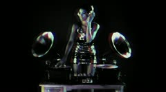 Super stylish female dj retro gramophones Stock Footage