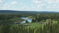 A small village on the banks of the River Stock Footage
