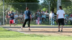 Rural community family softball game P HD 1595 Stock Footage