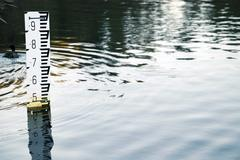 flood depth marker - stock photo
