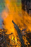 flames of a raging bonfire - stock photo