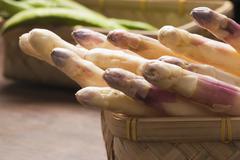 close up of asparagus - stock photo