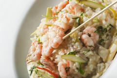 Shrimp and rice entree in bowl Stock Photos