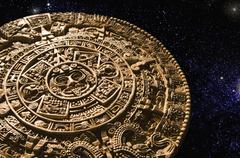 Aztec calendar stone carving in space Stock Photos