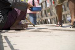 blind man begging - stock photo