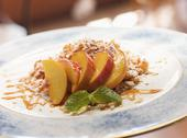 Stock Photo of dessert of peach semifreddo amarone