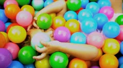 Cute Toddler Playing Ball Pool Stock Footage