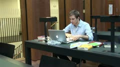 Students work in Jacob and Wilhelm Grimm-Center in Berlin Stock Footage