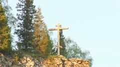 Cross on the rock Stock Footage