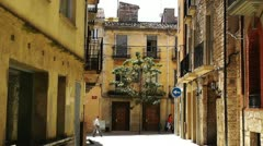 Small Town Street in Spain Catalonia Stock Footage