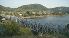 Road Bridge over the Siberian Mana River - stock footage
