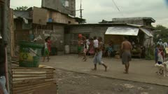 Basketball Court in Philippine Slum Wide Shot Stock Footage