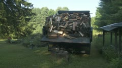 Truck Dumps Fire Wood Stock Footage