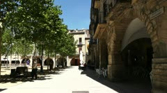 Stock Video Footage of Square in Small Town in Spain 01 Catalonia