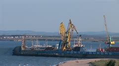 Cargo port in the Bulgarian city of Burgas Stock Footage