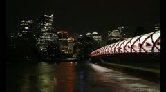 Calgary night bridge Stock Footage