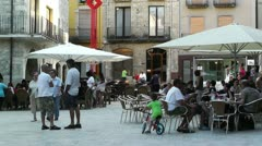 Square in Small Town in Spain 07 Catalonia Stock Footage
