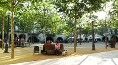 Square in Small Town in Spain 10 Catalonia Stock Footage