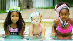 Young Children Enjoying Water Outdoors Stock Footage