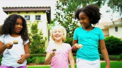 Cute Multi Ethnic Girls Garden Fun Races Stock Footage