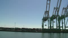 POV from boat of cranes and port at Long Beach harbor. Stock Footage
