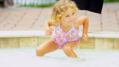 Cute Little Blonde Girl Swimsuit Stock Footage
