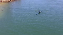 Man Rowing Lightweight Racing Scull 1- Long Beach CA Stock Footage
