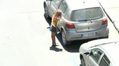 Child labour, beggar. Stock Footage