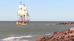 A tall master schooner sails on the high seas. Stock Footage