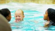 Happy Multi Ethnic Childhood Friends Swimming Pool Stock Footage