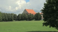 Church with red roof - stock footage