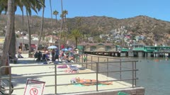 The beachfront at Catalina Island resort in Southern California. Stock Footage