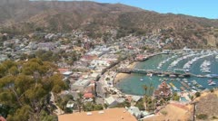 High angle overview of the town of Avalon on catalina IslandC Stock Footage