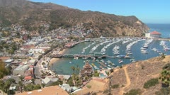 High angle overview of the town of Avalon on catalina IslandC - stock footage