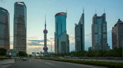 "Stock Video Footage of Traffic in Shanghai Pudong at dusk, timelapse>>>Please Search: ""ShanghaiSkyline"""