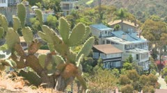 A house on a Southern California hillside features cactus and brush. - stock footage