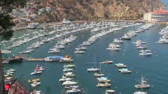 Stock Video Footage of High angle wide overview of the town of Avalon on catalina Island with the opera