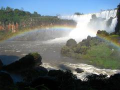 Rainbow in iguacu falls - stock photo