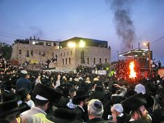Hasidic celebration of Lag B'omer in Meron Stock Photos