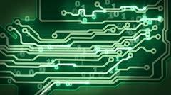 green circuit board providing signals loop hi-tech background - stock footage
