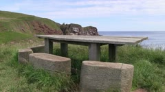 A peaceful picnic area by the sea on the Scottish Coast - stock footage