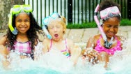 Happy Multi Ethnic Childhood Friends Swimming Pool Stock Footage