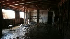Home basement destroyed by flash flood water mud P HD 1924 Stock Footage